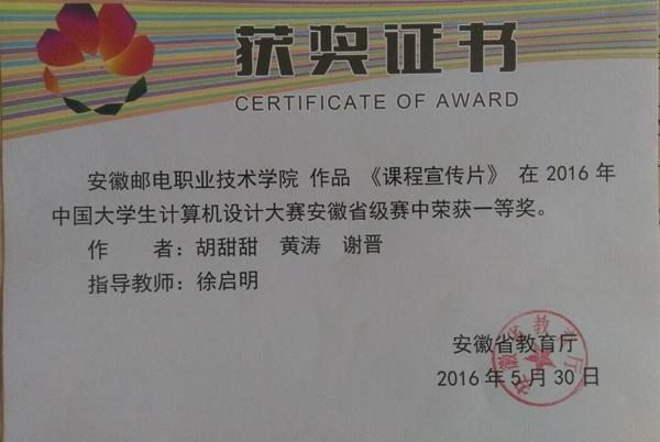 2016年中國大學生計算機設計大賽安徽省級賽一等獎,三等獎